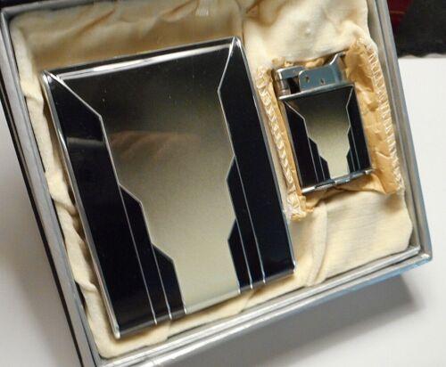 Old Art Deco Evans Cigarette Case & Lighter Set in Original Patented Gift Box