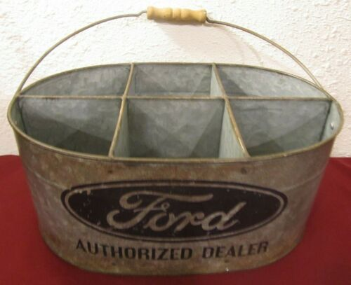 Vintage Ford Authorized Dealer Galvanized Metal Tool Parts Bucket