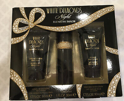 Elizabeth Taylor White Diamonds NIGHT EDT, Perfumed Body Lotion & Body Wash Set