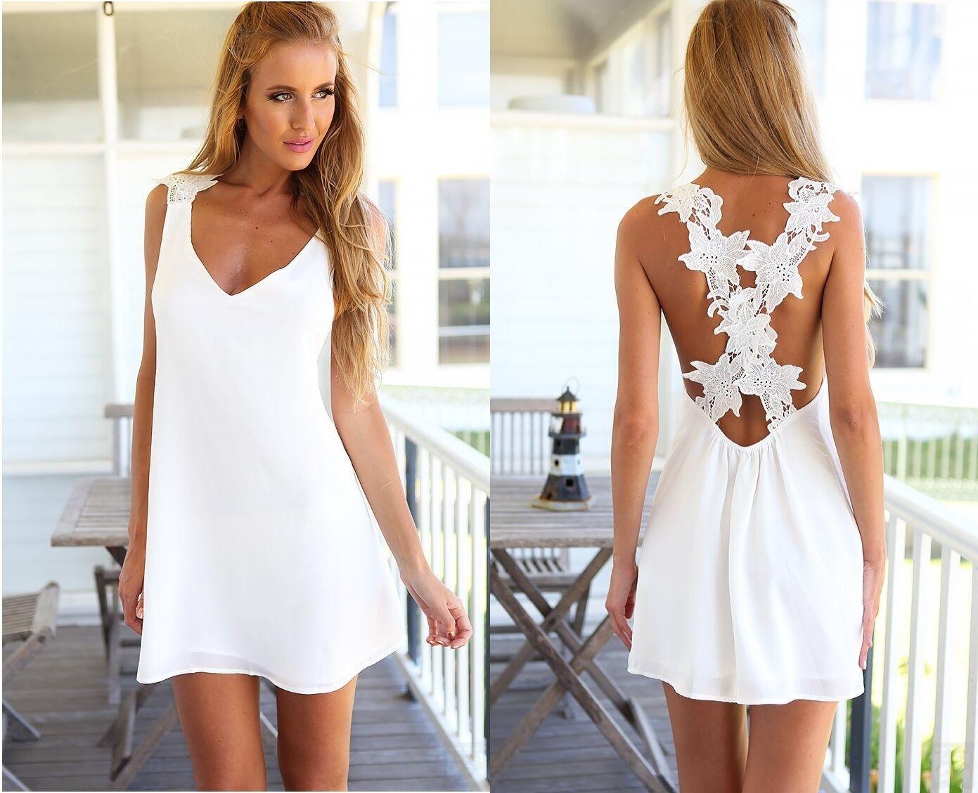 Vestito Copricostume Donna con Pizzo Mini Dress Woman Cover up with Lace 110069