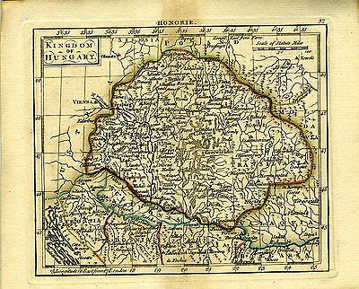 1761 Genuine Antique miniature hand colored map of Hungary.  by A. Dury
