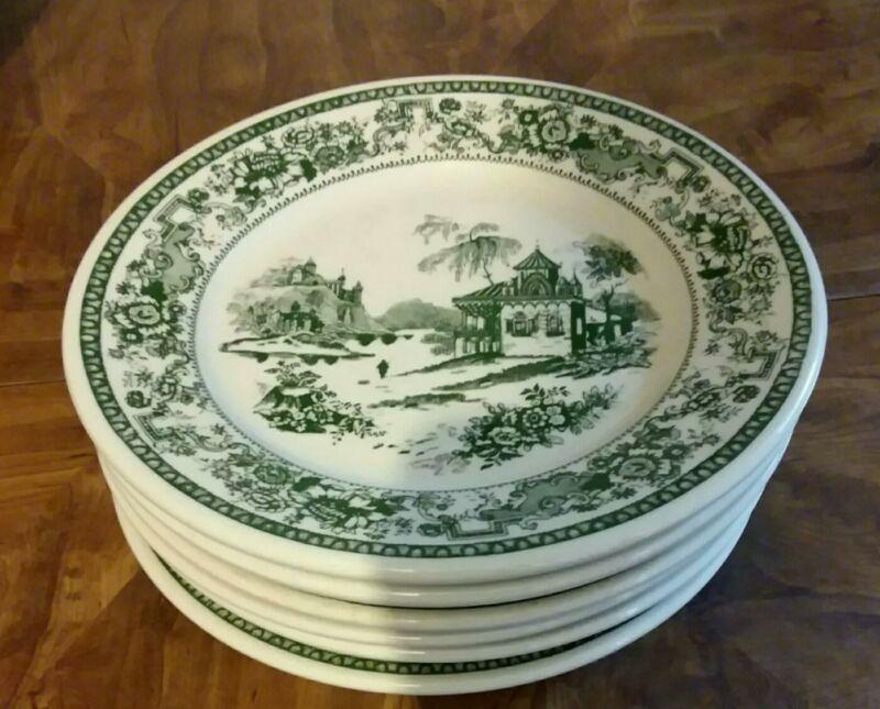 "Rare 6 Buffalo China Oneida  Green Willow Restaurantware  Plates    8  7/8""Wide"