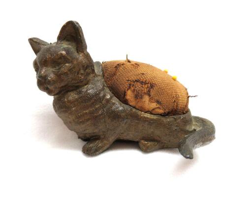 Victorian Gilded Metal Cat Kitten Animal Sewing Pincushion