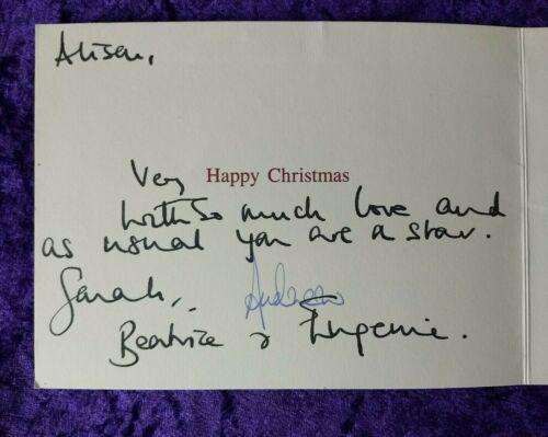 Prince Andrew - Duke & Duchess of York handwritten Xmas card- Beatrice & Eugenie