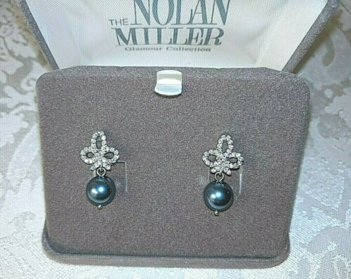 """NOLAN MILLER BLUE PEARL RHINESTONE EARRINGS CLIPS """"Fit For A Queen"""" Box Papers"""