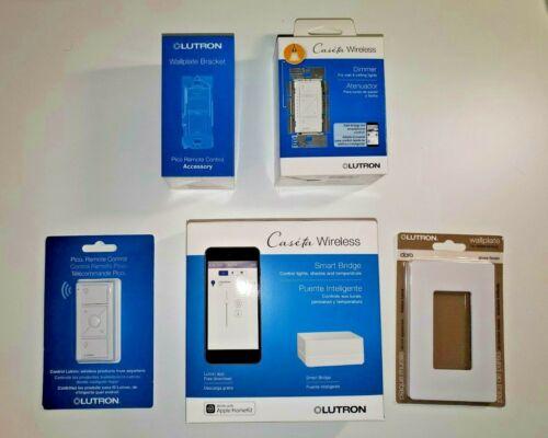 Lutron Bundle Caseta Wireless Smart Bridge, Dimmer, Bracket, Remote, Wallplate