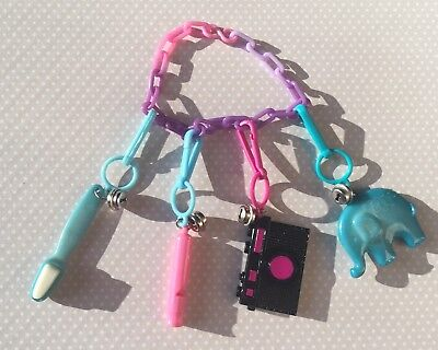 Flash Charms CAMERA, ELEPHANT, WHISTLE, BRUSH Plastic Clip Bell Charm 1980s
