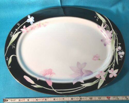 "Studio Nova Fine China Balmoral Black MA104 14"" oval serving platter unused EX!"