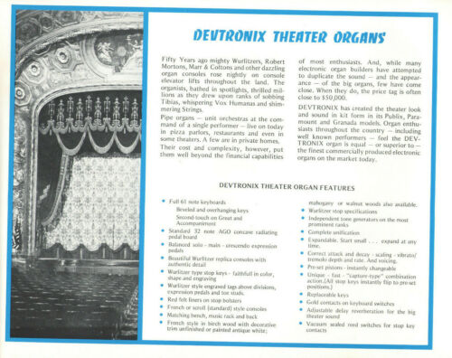VTG 1978 DEVTRONIX THEATER, CHURCH & CONCERT ORGAN KITS CATALOG! SPECS/FEATURES!