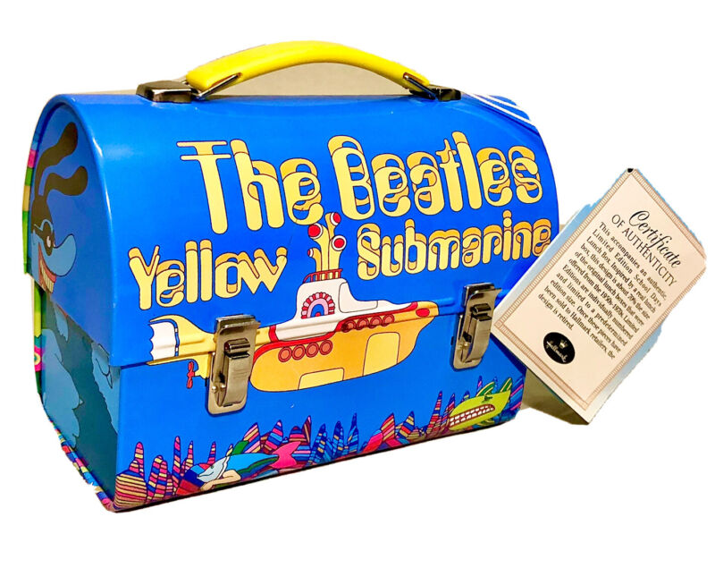 """NEW With Tags. The Beatles Yellow Submarine 6.5"""" Tin Lunchbox by Hallmark"""