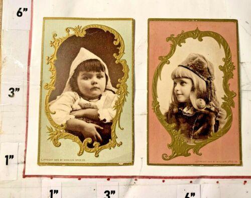Lot of 2 Victorian Child Trade Cards Woolson Spice Co Toledo Ohio Huron/Jackson