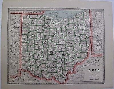 County Map Ohio Lake Erie George Cram Columbus Cincinnati Cleveland Ca. 1900