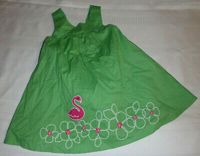 Gymboree Flamingo Flowers 12-18 Month Green Dress Diaper Cover Outfit NWT