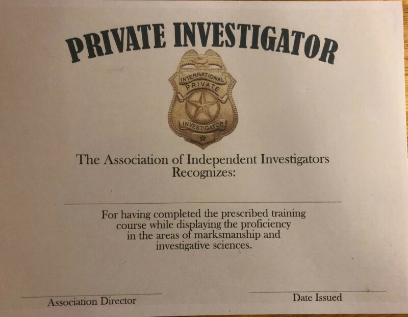 Private Investigator Certificate- Comes Blank Fill In Own Information