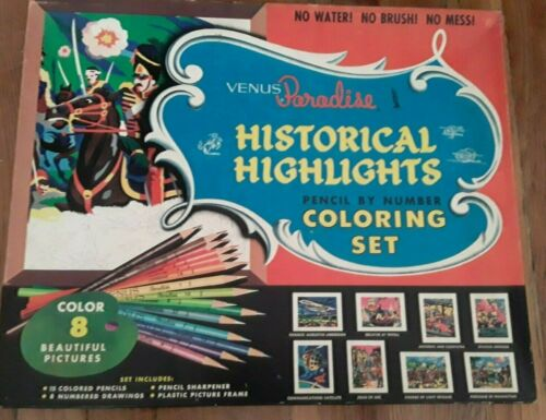 Vintage Coloring Set Child Teen Historical Scenes by Number Ship Space Plane USA
