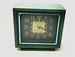 Working Vintage WESTCLOX Square Face Wind-Up Alarm Clock Blue Green Case Unusual