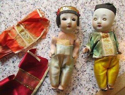 vintage*CHINESE * BISQUE/CHINA DOLLS x 2 - Need TLC  - 6 inches tall