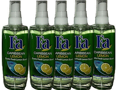Fa Deodorant Spray (5x Fa Caribbean Lemon Pump Spray Deodorant,24H schutz  0% Aluminium ,75 ml NEU)