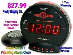 BRAND NEW Sonic Boom Model SBB500ss Sonic Bomb Loud Plus Vibrating Alarm Clock