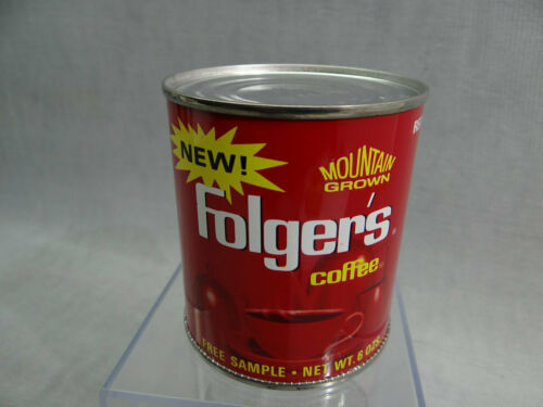 Folgers Coffee Sample Tin Can with Lid Bottom opened Kitchen Décor Advertising