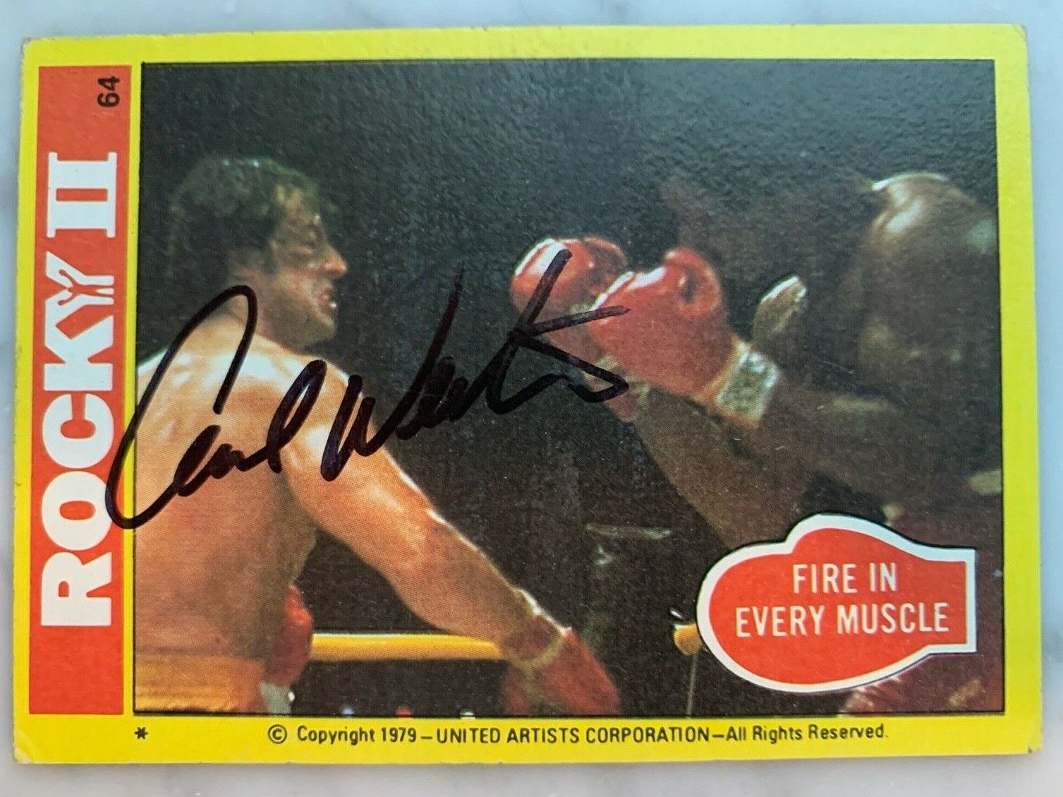 """Carl weathers signed 1978 rocky ii movie trading card  """"fire in every muscle"""""""