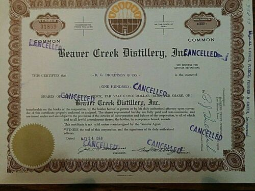 LOT 5O5 -One Lot of Five Fun Stock Certificates to Display! Less Than $5,00 Each
