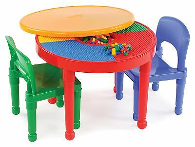 - Round Plastic Construction Table 2 Chairs Play Legos Kids Dining Building Blocks