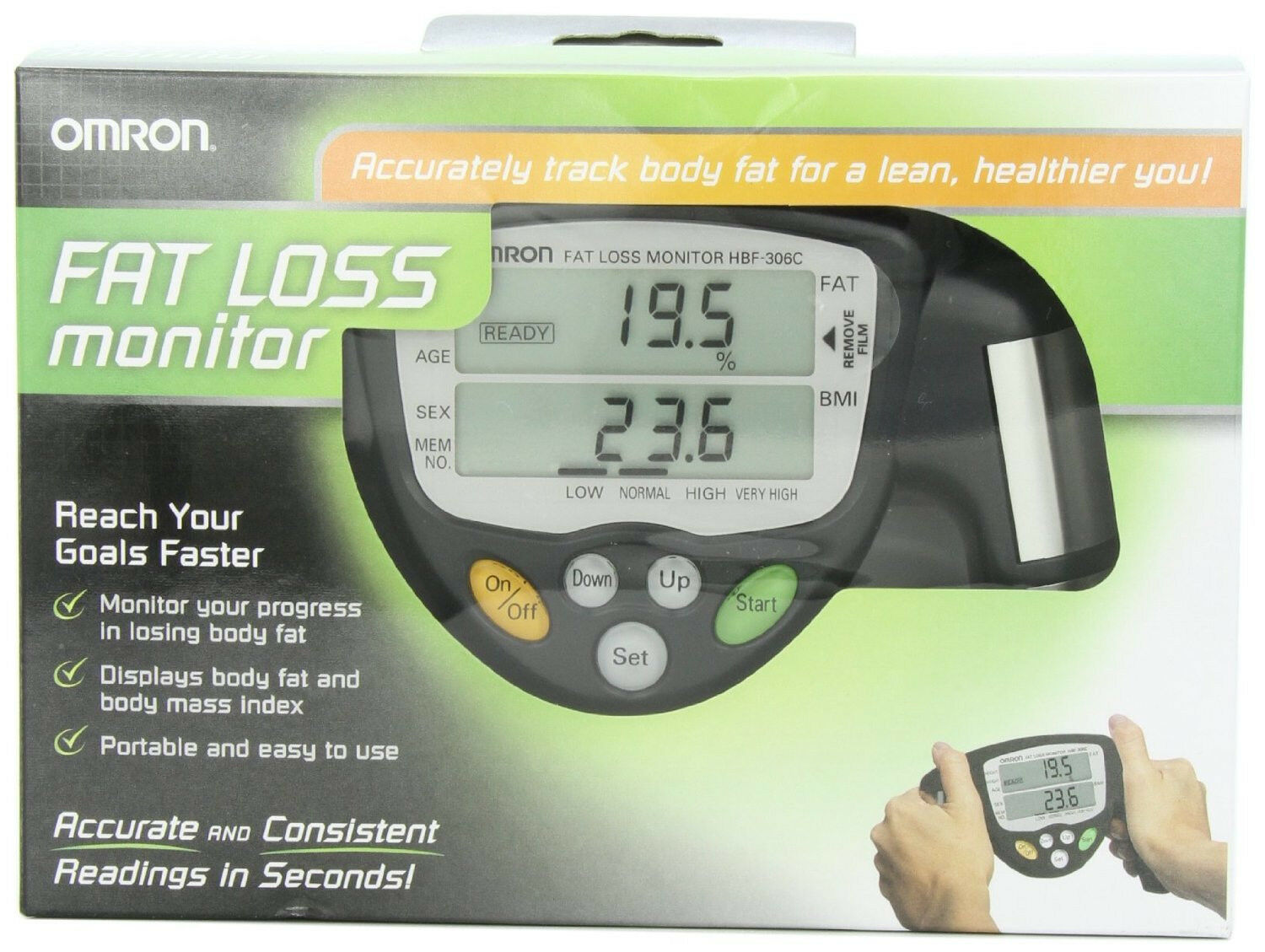 Omron HBF-306C FAT Loss Analyzer Monitor HBF-306CN Body Logic Black Fast