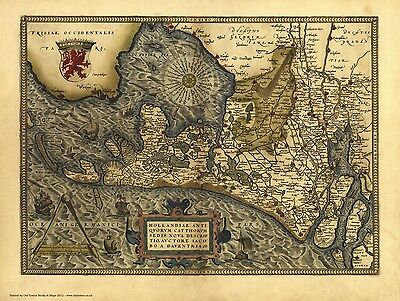 Hollandia in 1570 - reproduction of a old map by Abraham Ortelius