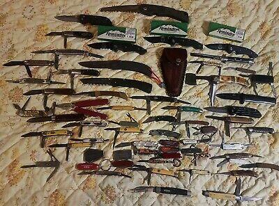 63 Vintage Folding Pocket Knives lot Imperial Western Remington Gerber Browning