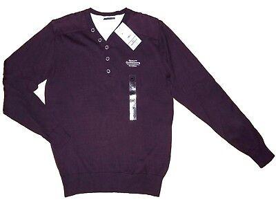 Jersey Hombre Suéter de Punto Fino Camiseta para M 48/50 Rojo Vino