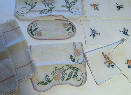 Lot of 9 Vintage Embroidered Crocheted Dresser Scarves Doilies Cutter
