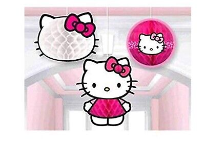 Hello Kitty 3 Honeycomb Balls Hanging Decorations Birthday Party