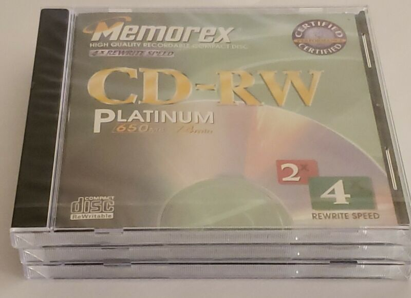 Vintage 1999 Memorex CD-RW Platinum Discs 650 MB 75 Min Factory Sealed Lot Of 3