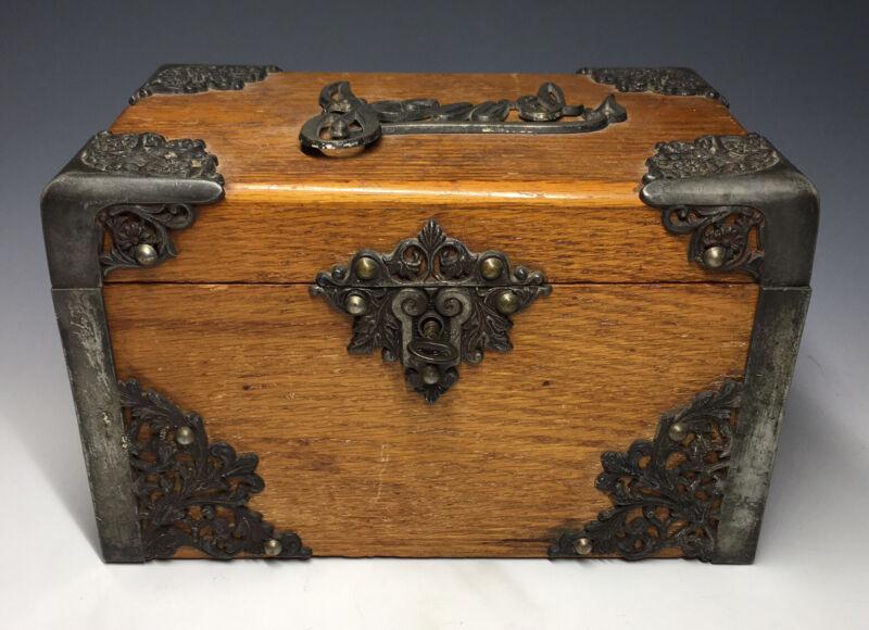 Antique Victorian Jewelry Treasure Wooden Box & Art Nouveau Motifs w/ Key