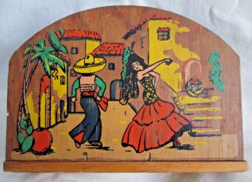 Vintage Hand Painted Wooden OLVERA ST. Napkin Holder Los Angeles California