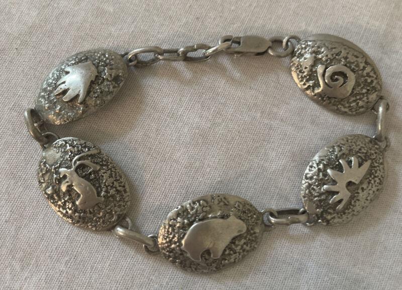 Old Pawn Sterling Silver Navajo Bear Link Bracelet Foster Yazzie IHMSS