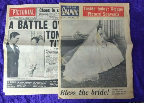 Pair of 1960 British newspapers covering Princess Margaret