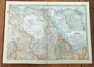 1903 large colour fold out map titled - africa - north east part