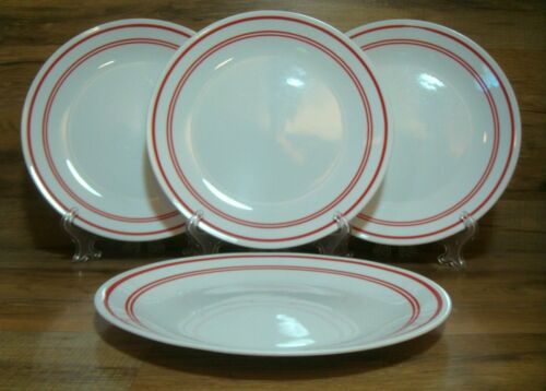 """SET OF 4  - CORNING CORELLE - CLASSIC CAFE RED - 10 1/4"""" DINNER PLATES"""