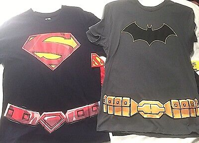 Men's Superhero T Shirts Removable Cape Novelty Party - You Pick - Halloween NWT
