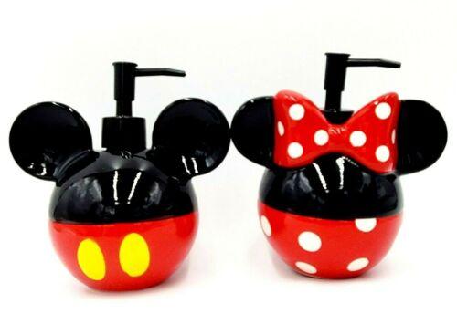 Disney Mickey & Minnie Mouse Icon Soap Dispenser Ceramic Set New