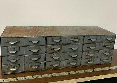 Vintage Antique Industrial Metal 24 Drawer Storage Parts Bin Cabinet 34 X 11x11