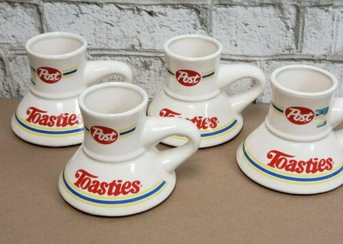 4 Rare Vintage Post Toasties Cereal Wide-Base Coffee Mugs Cups Breakfast