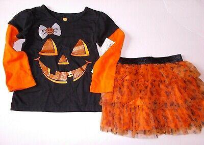 Girls 2-Piece Pumpkin Face Long Sleeve Shirt And Skirt Halloween Outfit 2T 3T - Pumpkin Outfit Halloween