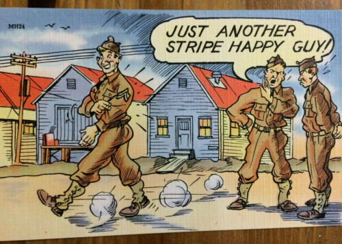 WWII Postcard Tichnor Bros Inc Linen Just Another Stripe Happy Guy Cartoon