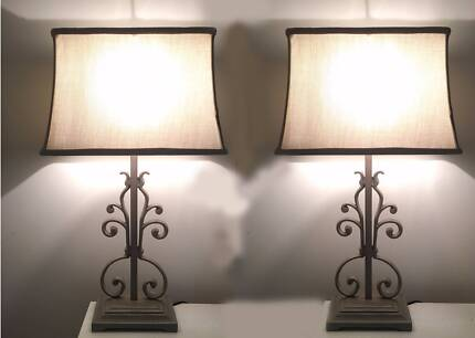 Pair of Pretty French Table Lamps with Shades