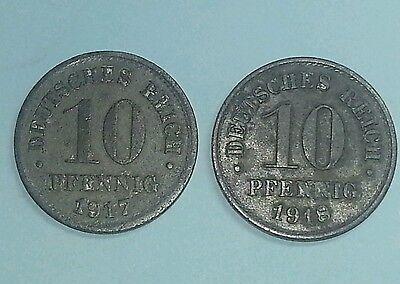 2x 10 Pfennig 1917/18 Zink Sehr Selten !! 1.Weltkrieg Ersatzgeld