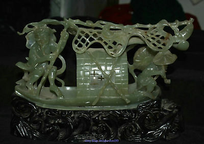 """12"""" Chinese Natural Old Hetian Jade Jadeite Carved Old Man Fisherman Boat Statue"""