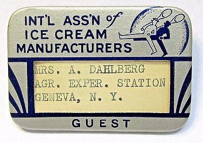 1930s INTERNATIONAL ASSOC. OF ICE CREAM MANUFACTURERS Dahlberg pinback button  *